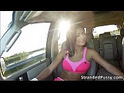 Hot sexy Nadia shows her great pair of tits to the cab driver for a ride