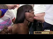 Ebony girlfriend takes huge loads of cum on her face 3