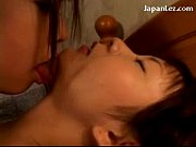 2 asian girls in pijamas kissing fingering each.