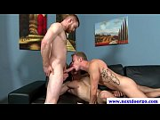 Muscled amateur jock drools on two dicks