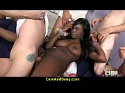 Black slut used for blowjobs by a group of white men 9