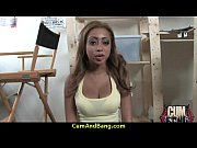 Ebony chick hard fuck in interracial group 15