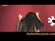 Gloryhole Initiations Black babe sucking white cock 6