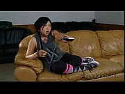 Tattooed Asian nanny fucked on leather couch view on xvideos.com tube online.