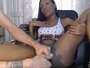 black shemale getting handjob and assplay from her.
