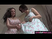 Big boobed Aussie lesbian babes jill off together
