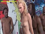 Black gangbang and facials for blonde