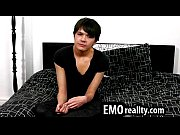 Gorgeous teen emo speaks to the camera and touches