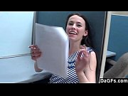 Young brunette fucked in the office to get a new job