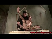 Hogtied suspended sub get toy from her master