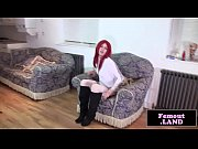 seductive redhead femboy toys her butthole