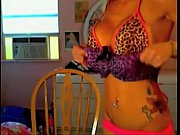 blonde babe getting ready on cam in leopard.