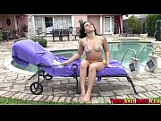 Kimber Woods sneak peeked at pool and then anal fucked