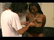 A lovesome sadomasochist fetishist with black skin in a porno movie