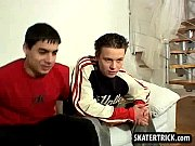 Skater hunk getting his bare ass slapped on the couch