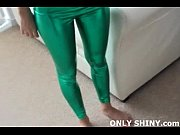 Sizzling hot Sasha in shiny green PVC panties