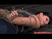 BDSM sub India Summer on floor tied up
