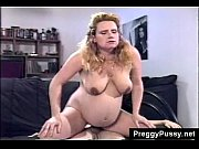 pregnant blonde girl walks around barefoot and rides dick