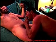 gay bear lubes ass and jerks off on bed