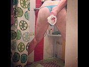 Crossresser in the shower,  in panties shows the ass and wants to enter it Thumbnail