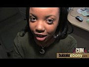 Ebony takes a facial in a club bukkake party 25