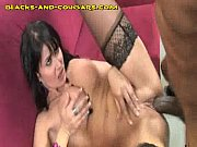 Hot Brunette MILF Swallows Black Cum