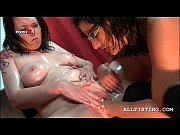 brunette sex addict lesbo gets deep fisted on.