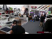petite nasty lady doing dirty business at the pawnshop