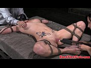 leather head bondage sub frogtied to.