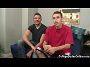 Naked guys Marco releases and Sam lies down on the bed, getting his