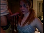 awesome amateur teen redhead blowjob deepthroat in cam with final facial very ho