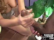 blonde interracial handjob