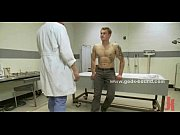 Submissive gay patient gets tied down