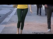 Tight ass street teen walking in tights leggings Vpl!