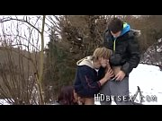 Outdoor sexy teen bimale threesome