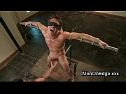 Gay in bondage positions balls slapped
