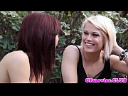 Stocking lesbian pussylicking redhead babe