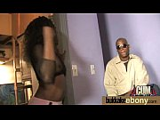 hot ebony chick in interracial gangbang.