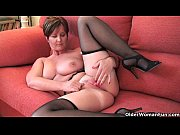 classy grandma joy gets fingered and masturbates with dildo up her ass