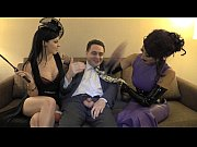 Mistress Tangent and Mistress Morgan Chase attack the balls of Andrea Dipr&egrave_
