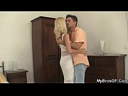 cheating blonde rides her bf&#039_s brother.