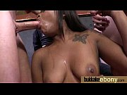 ebony girlfriend takes huge loads of cum on.