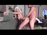 slutty blonde takes dick in the ass at work