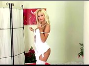 blonde stripping and fingering in white.