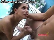 Young latina girl giving blowjob at poolside