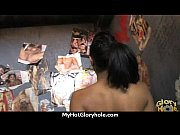 ebony slut swallows cum sucking cardboard box gloryhole.