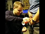 Danish Straight Boys challenge to the party and lick whipped cream on balls