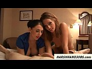 Two British gals work a cock harsh