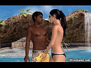 A sexy 3D brunette babe is fucked by a black cock