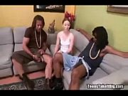 creamed-skinned teen gets pounded by two.
